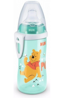 NUK first choice active cup bottle 300 ml Winnie the Pooh with silicone turquoise towel with teddy bear