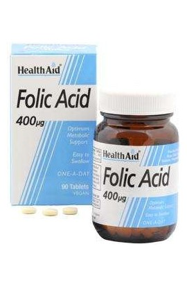 Health Aid Folic Acid 400mcg (Folsaure) 90 veg. Tabletten (vegan)