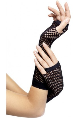 Fever Long net gloves Fever black