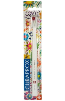 Ultra soft toothbrush (white + white and pink) CS Ultra Soft 5460 Hawaii edition 1pcs Curaprox