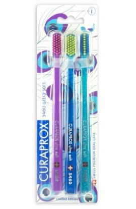 Ultra soft toothbrush (violet-pink+blue-salad+turquoise-green) CS Ultra Soft 5460 3-pack SUMMER PEACOCK 3pcs Curaprox