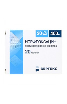 Vertex Norfloxacin tablets coated. 400 mg, 20 pcs.