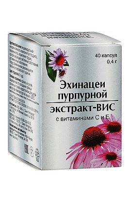 VIS OOO Ehinatsei purpurea extract-VIS with vitamins C and E capsules 0,4 g, 40 pcs.