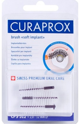 Dental brushes for implants 12mm CPS 512 soft implant 5pcs Curaprox