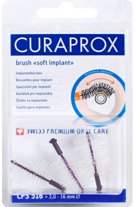 Dental brushes for implants 16mm CPS 516 soft implant 5pcs Curaprox