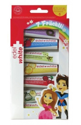 Children's Oral Toothpaste, 7 x 9.4 ml EDEL + WHITE