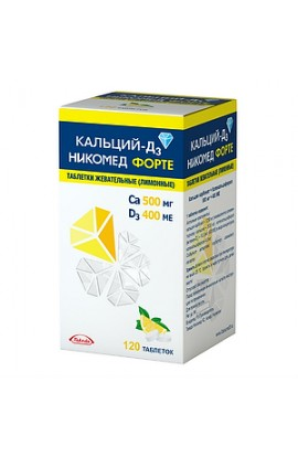 мTakeda Pharmaceuticals Ltd. Calcium-D3 Nikomed forte tablets chewing lemon, 120 pcs.