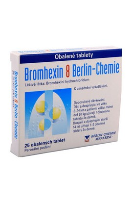 Berlin-Chemie, BROMHEXIN BERLIN-CHEMIE 8MG coated tablets 25, 1 pcs