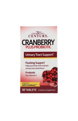 21st Century, Клюква Плюс Пробиотик, Cranberry Plus Probiotic, 60 шт