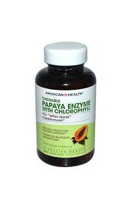 American Health, Фермент папайи с хлорофиллом, Papaya Enzyme with Chlorophyll, 250 шт